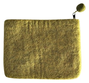 Wool Pouch Citron Green Clutch