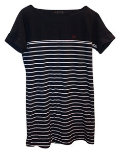 Fred Perry short dress Navy Cotton Striped Boatneck on Tradesy
