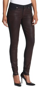 CJ by Cookie Johnson Denim Pants Burgundy Merlot Coated Stretch Wax Women Ladies Misses Designer Fashion Style Modern Cool Edgy Chic Casual Skinny Jeans-Coated