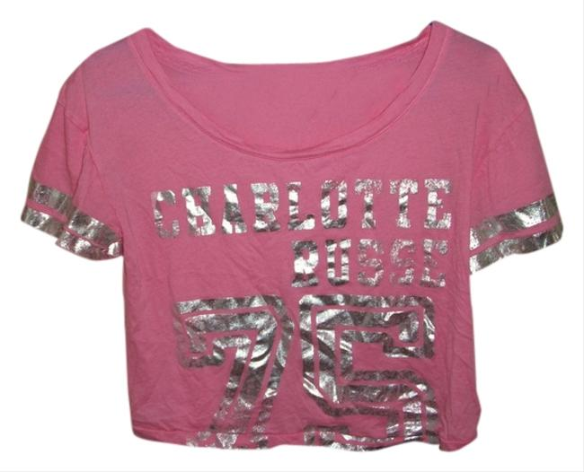 Charlotte Russe Cropped Sleeping T Shirt pink and silver