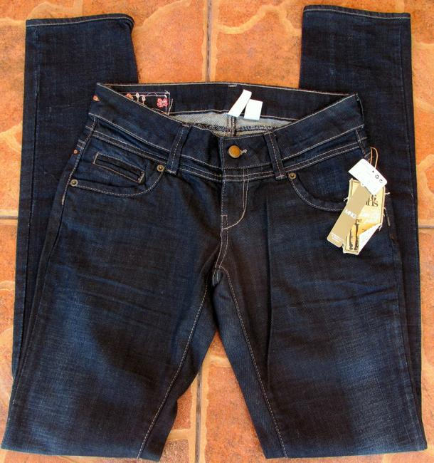 Mango New With Tag Washed Slim Fit Size 4 Flowers Skinny Jeans-Dark Rinse