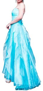 Jessica McClintock Prom Strapless Chiffon Ruffle Full Length Ball Gown Dress