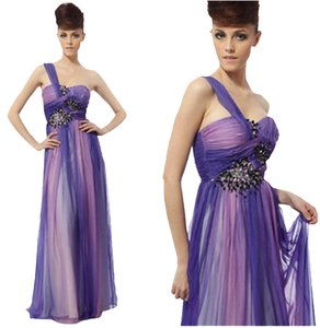 CONIEFOX Chiffon Ruched Beaded Ball Gown Full Length Crystals Dress