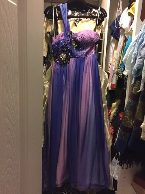 CONIEFOX One-shoulder Chiffon Ruched Beaded Ball Gown Full Length Crystals Dress