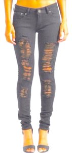 Ten 25 Distress Ripped Skinnies Punk Skinny Jeans-Distressed