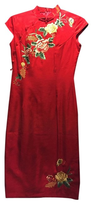 Other Silk Luxury Elegant Asian Gown Embroidered Qipao Cheongsam Wedding Dress