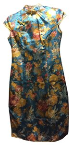 Other Silk Luxury Asian Custom Qipao Cheongsam Peony Embroidered Dress