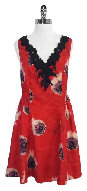 Preload https://item4.tradesy.com/images/red-and-black-floral-print-silk-sleeveless-high-low-short-casual-dress-size-10-m-5153323-0-0.jpg?width=400&height=650