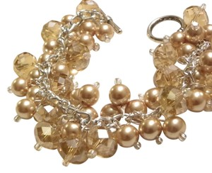 gold pearl crystal glass Cluster bracelet, bridesmaid