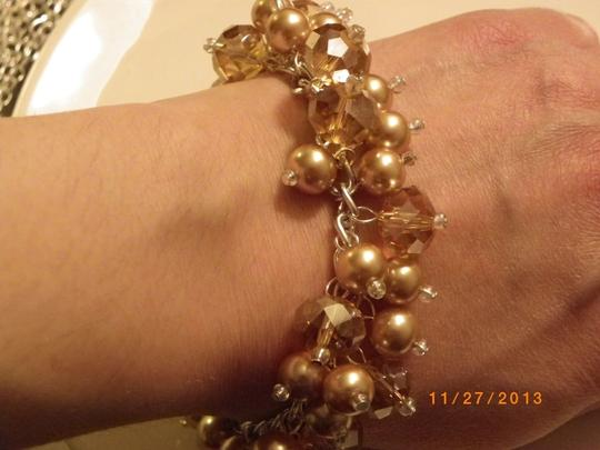 Other gold pearl crystal glass Cluster bracelet, bridesmaid