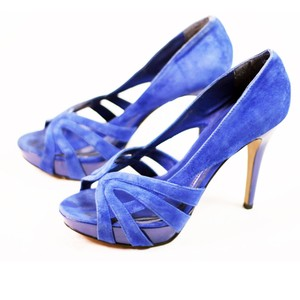 Steve Madden Cobalt Suede Leather Blue Platforms