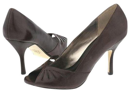 Steve Madden Anette Leather Peep Toe Heels BROWN Pumps