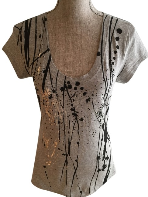 Kenneth Cole Size Small Tees Size Small Tops Embellished Tees Tees Tops T Shirt Gray/Black/Silver