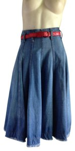 Alexander McQueen Denim Midi High Waisted Skirt Blue