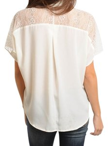 CaliJoules Lace Button Shirt Holiday Gift Affordable Top Ivory