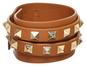 Valentino Valentino Tan Leather Rockstud Multiwrap Bracelet