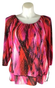 Style & Co Super Stretchy Keyhole Top Red Pink Black