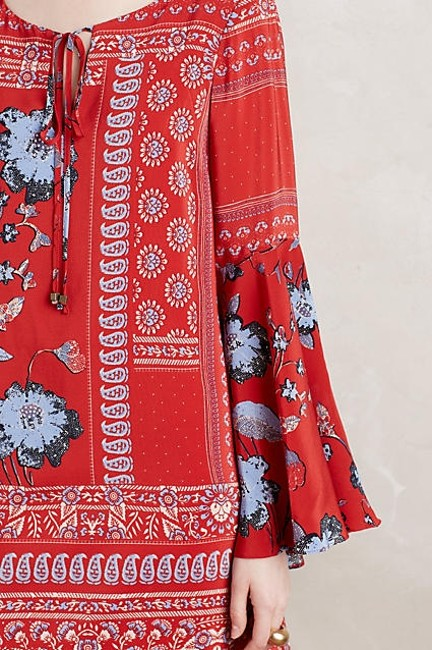 Anthropologie short dress Red Swing Belled Silk on Tradesy