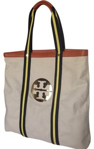Tory Burch Canvas Leather Large Tote in Natural, Navy, Yellow