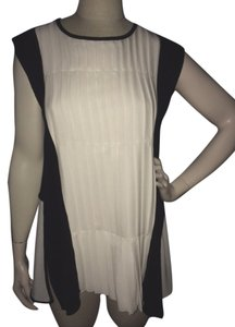 Yigal Azrouël Silk Cashmere Top Black & Ivory