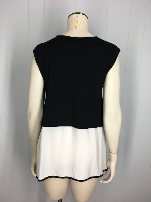Yigal Azrouël Silk Cashmere Pleated Top Black & Ivory