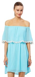 Charming Charlie short dress Light Turquoise/Blue Flowy Lace Gauze Elastic Day on Tradesy