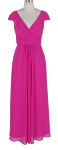 Pink Long Elegant Pleated Waist Mini Sleeves Formal Dress
