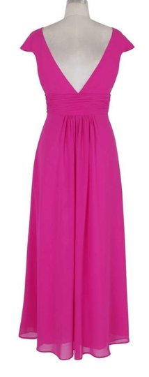 Pink Chiffon Long Elegant Pleated Waist Mini Sleeves Formal Bridesmaid/Mob Dress Size 28 (Plus 3x)
