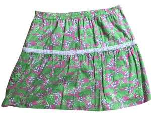 Lilly Pulitzer Vintage Pink Mini Skirt Hippo Print, Pink, Green