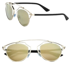Dior Dior 'So Real' 48mm Silver Mirrored Sunglasses Gold/Crystal/Black