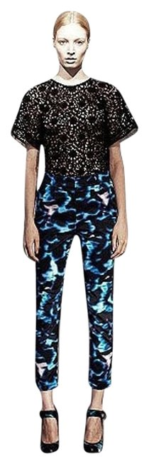 ERDEM Cropped Slimfit Trouser Pants Blue Print