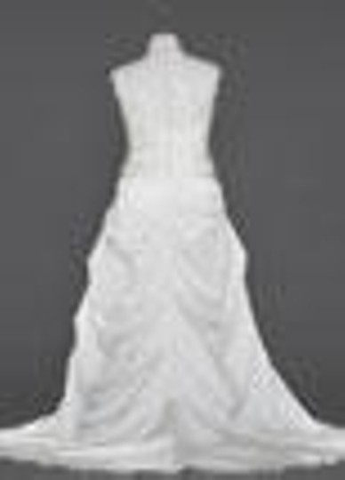 David's Bridal Ivory Satin Cap Sleeved Side-draped A-line Gown Style Feminine Wedding Dress Size 16 (XL, Plus 0x)