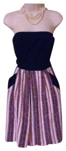Eva Franco Boucle Tweed Strapless Chanel Stripe Dress