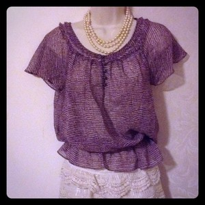 Forth & Towne Silk Sheer Top Purple