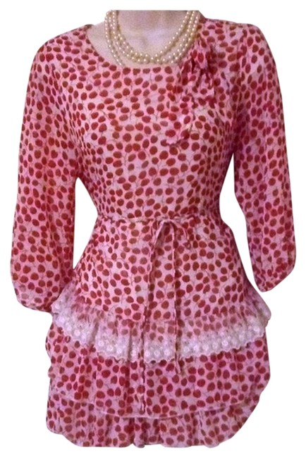 Mel & Karina Cherry Bow Tie Lace Ruffle White Floral Top Red