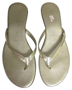 Other Italian Shoemakers Italian Flip Flips Flip Flops Gold Sandals
