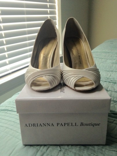 Adrianna Papell Satin Peep Toe Wedding Ivory Pumps
