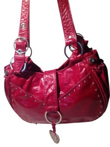 Mia Bossi Shoulder Handbag Leather Purse Red Diaper Bag