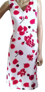 MILLY Floral Sheath Fuchsia V Neck Flowers Dress