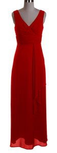 Red Chiffon Long Draping Formal Cocktail Sexy Bridesmaid/Mob Dress Size 24 (Plus 2x)