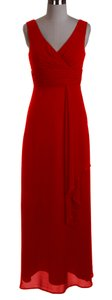Red Long Chiffon Draping Formal Cocktail Dress Dress