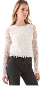 Candela Boho Lace Lace Trim Crop Top Off White