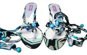 Emilio Pucci Print Beach Jewel Embellished Multi Blue Black Green Pattern Sandals