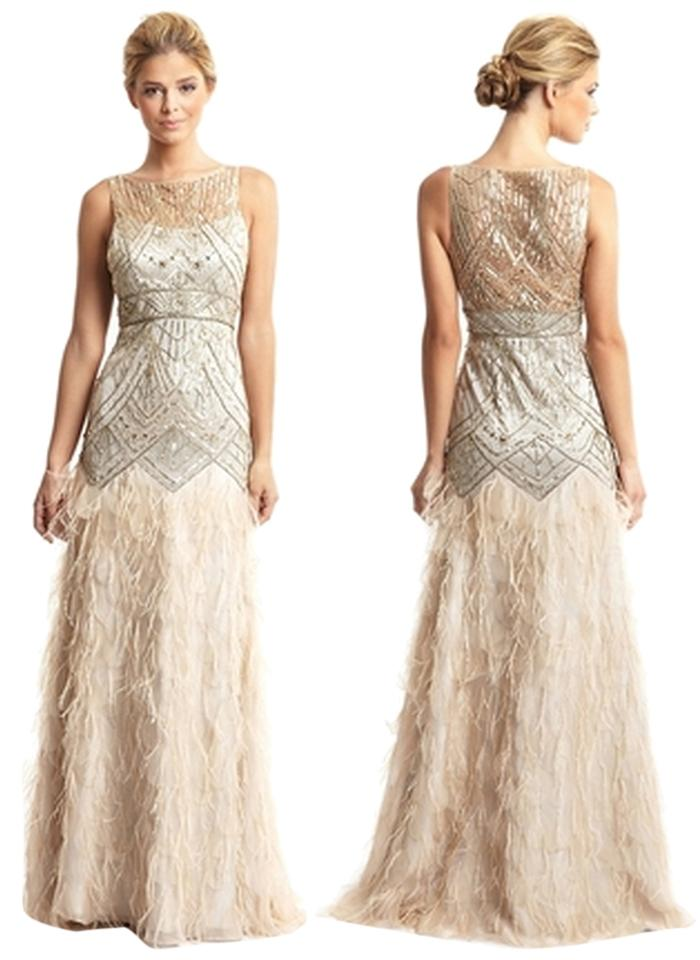 Sue Wong Blush and Gold Art-deco Feather Ball Gown with Beading ...