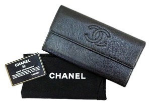 Chanel CHANEL CC LOGO BLACK CAVIAR LEATHER FLAP LONG WALLET