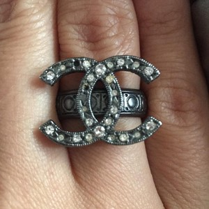Chanel Silver CC Crystal Ring