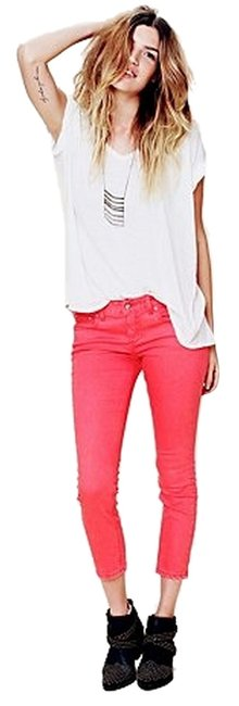 Item - Faded Red 5 Pocket Ankle Crop Capri/Cropped Jeans Size 25 (2, XS)