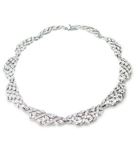 Ben-Amun Bridal Marquise Crystal Swirl Necklace