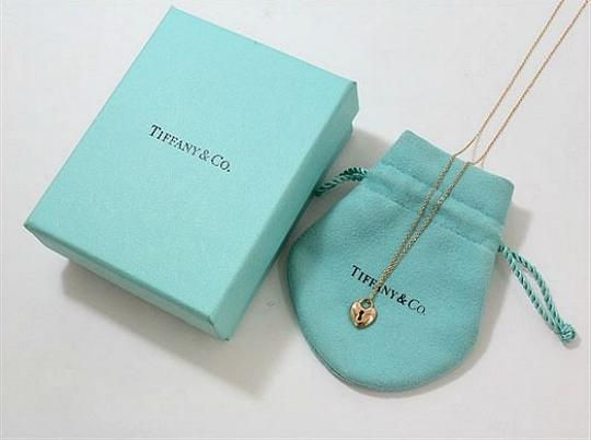 Tiffany & Co. Authentic Tiffany & Co. 18K Gold Mini Heart Lock Pendant Necklace