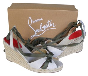 Christian Louboutin Loubies Natural, green Wedges